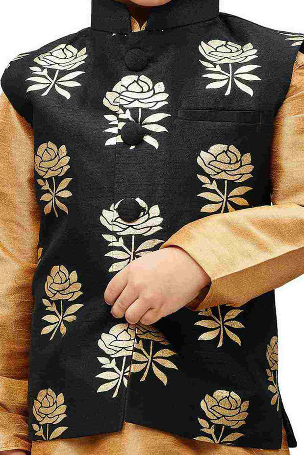 Boy's Art Silk Printed Nehru Jacket in Black