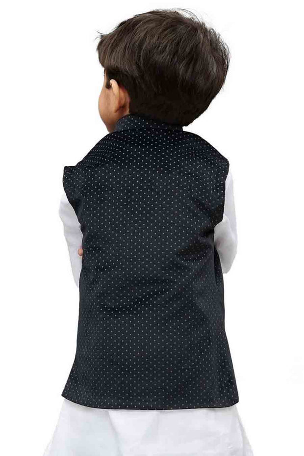 Vastramay Boy's Velvet Printed Nehru Jacket in Black