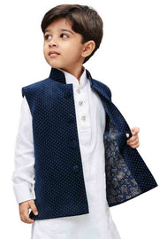 Vastramay Boy's Velvet Printed Nehru Jacket in Blue