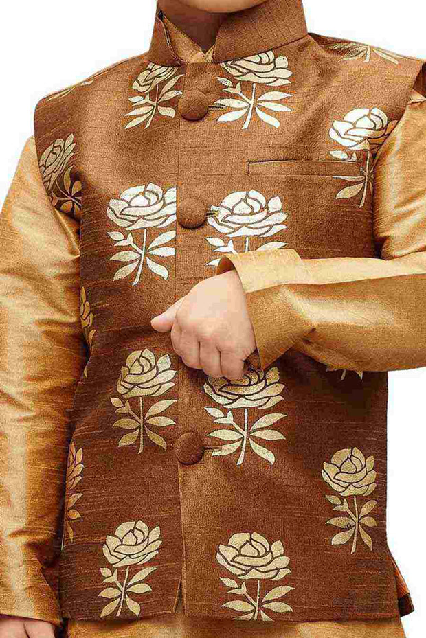 Vastramay Boy's Silk Printed Nehru Jacket in Brown