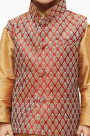 Vastramay Boy's Silk Woven Design Nehru Jacket in Maroon