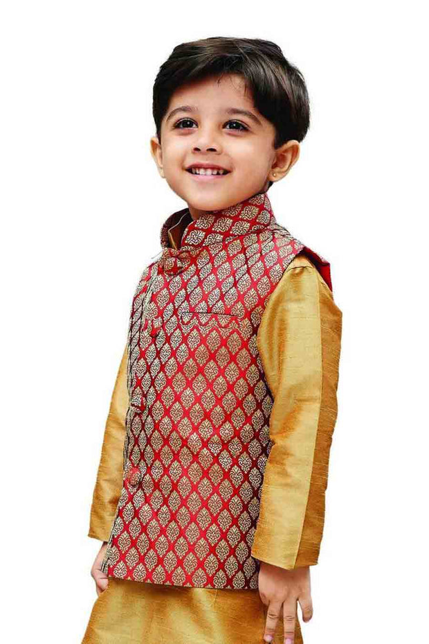 Boy's Art Silk Woven Design Nehru Jacket in Maroon