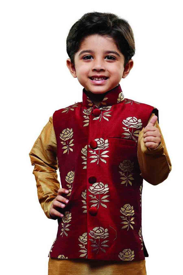 Vastramay Boy's Silk Printed Nehru Jacket in Maroon
