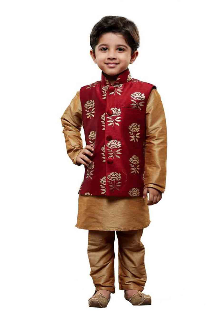 Boy's Cotton Art Silk Printed Kurta and Pyjama Set in Gold