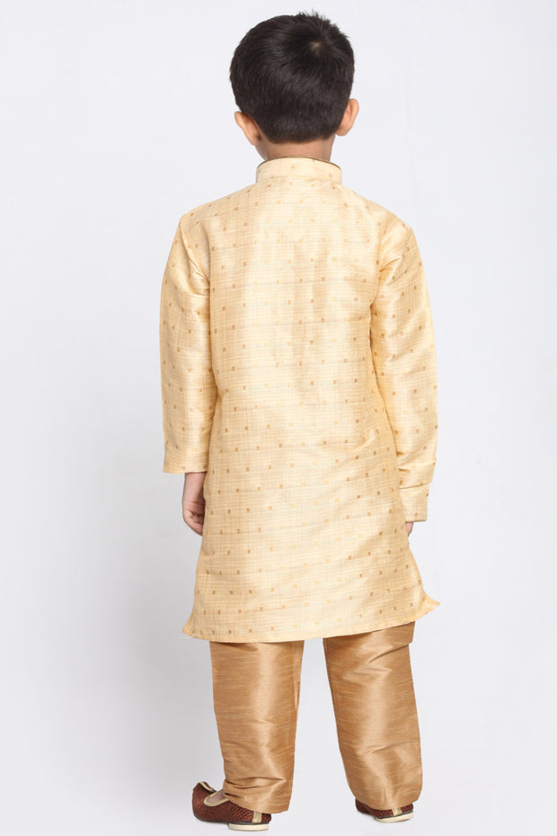 Boy's Cotton Art Silk Kurta Set in Gold