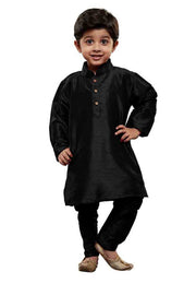 Boy's Cotton Art Silk Solid Kurta and Pyjama Set in Black