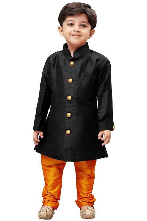 Boy's Art Silk Solid Sherwani in Black