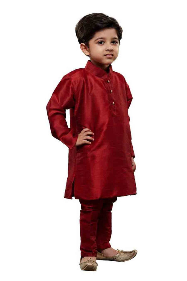 Boy's Cotton Art Silk Solid Kurta and Pyjama Set in Maroon