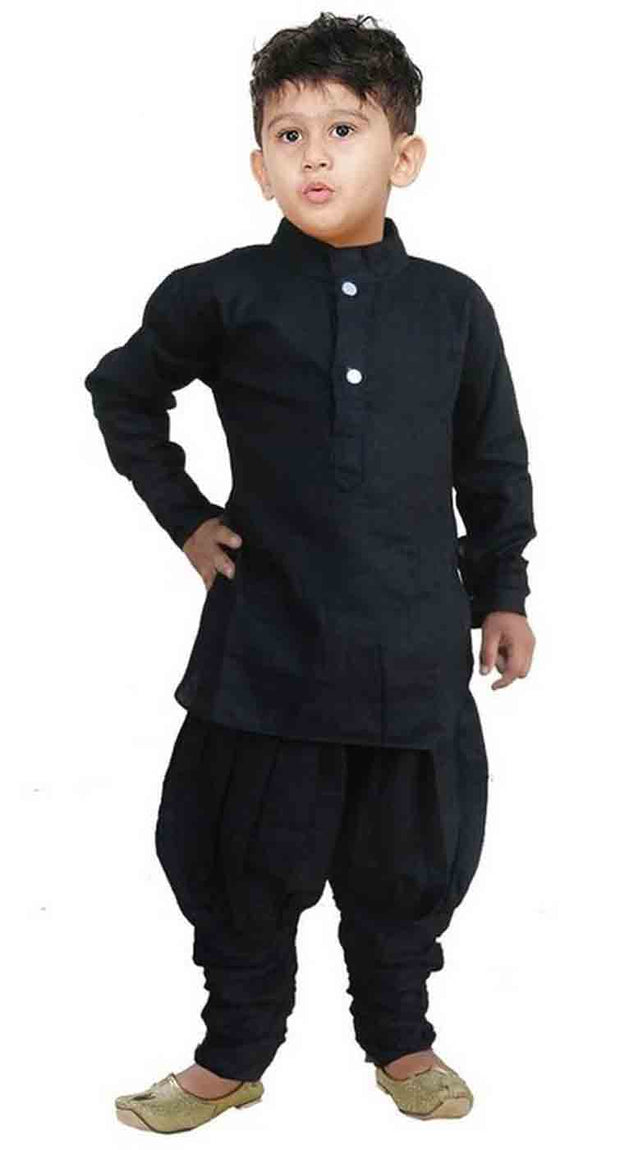 Vastramay Boy's Linen Solid Kurta and Pyjama Set in Black