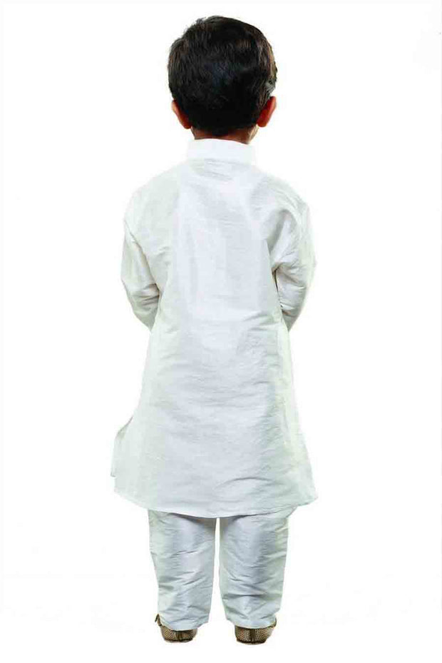 Boy's Cotton Art Silk Solid Kurta and Pyjama Set in White