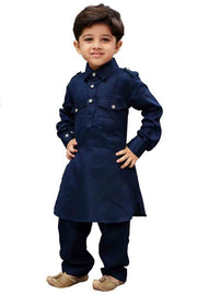 Boy's Cotton Solid Pathani in Blue