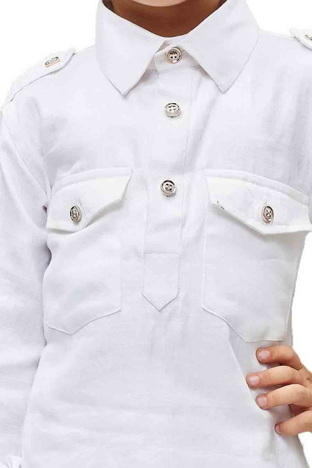 Boy's Cotton Solid Pathani in White