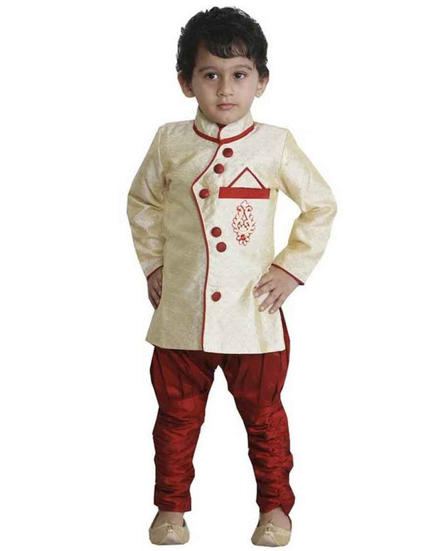 Vastramay Boy's Cotton Silk Solid Kurta and Pyjama Set in Beige
