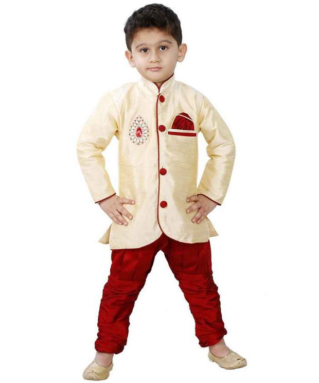 Vastramay Boy's Cotton Silk Solid Kurta and Pyjama Set in Gold