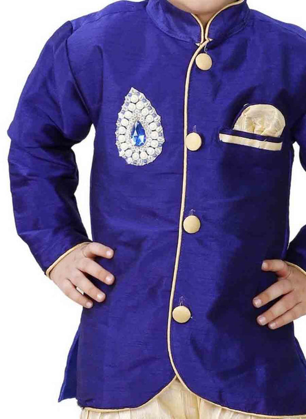 Vastramay Boy's Cotton Silk Solid Kurta and Pyjama Set in Blue