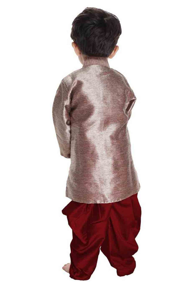 Vastramay Boy's Cotton Solid Sherwani in Gold