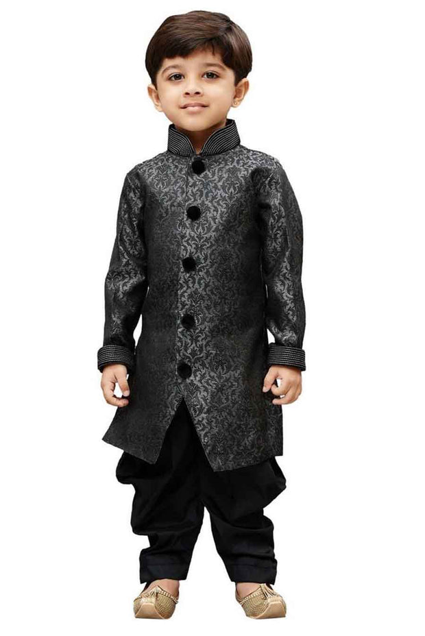 Vastramay Boy's Silk Self Design Sherwani in Grey