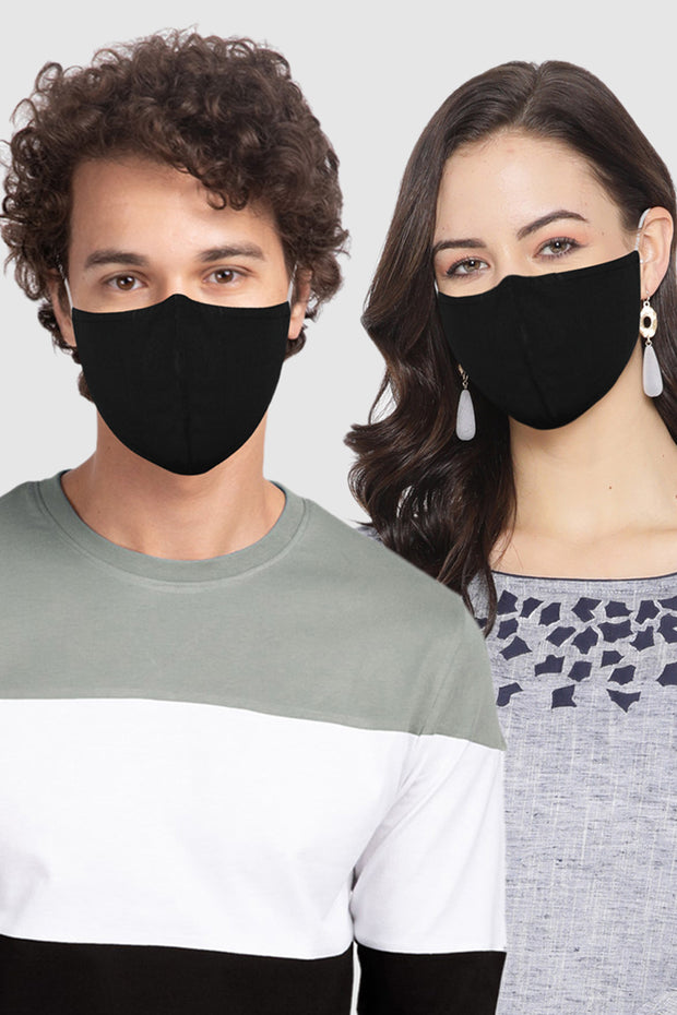 Unisex Cotton Blend Face Mask in Black (Pack Of 3)