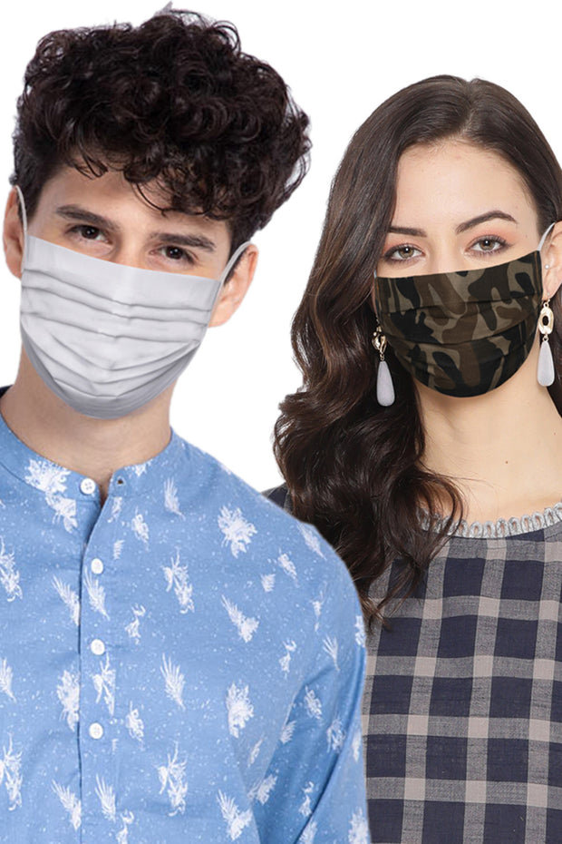 Unisex Cotton Blend Face Mask in Green (Pack Of 3)