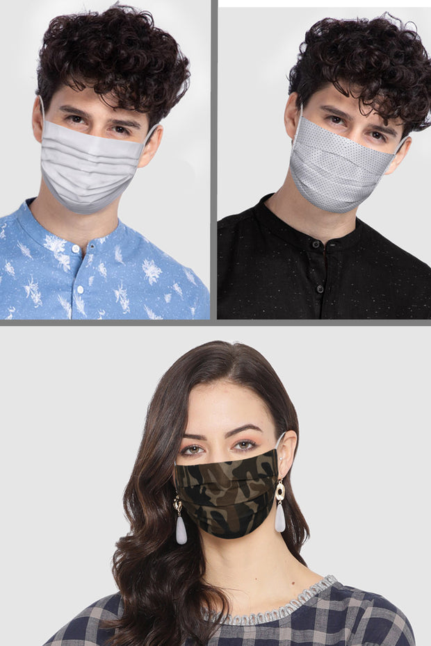 Unisex Cotton Blend Face Mask in White (Pack Of 3)