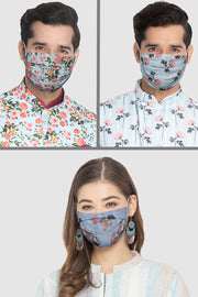 Unisex Cotton Blend Face Mask in Blue  (Pack Of 3)