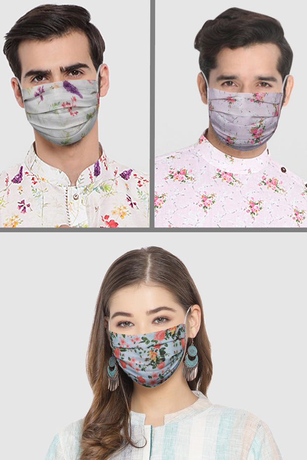 Unisex Cotton Blend Face Mask in Pink (Pack Of 3)