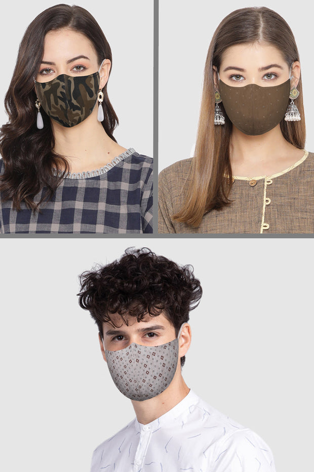 Unisex Cotton Blend Face Mask in Brown