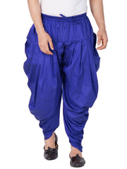 Vastramay Men's Cotton Art Silk Solid Cowl Design Patiala Style Dhoti Pant in Blue