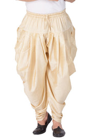 Vastramay Men's Cotton Art Silk Solid Cowl Design Patiala Style Dhoti Pant in Gold