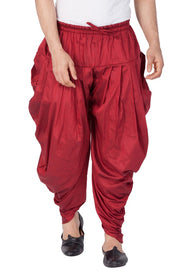 Vastramay Men's Cotton Art Silk Solid Cowl Design Patiala Style Dhoti Pant in Maroon