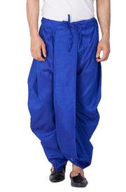 Vastramay Men's Cotton Art Silk Solid Dhoti Pant in Blue