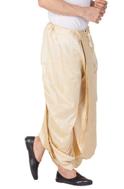 Men's Cotton Art Silk Solid Dhoti Pant in Gold