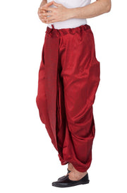 Men's Cotton Art Silk Solid Dhoti Pant in Maroon