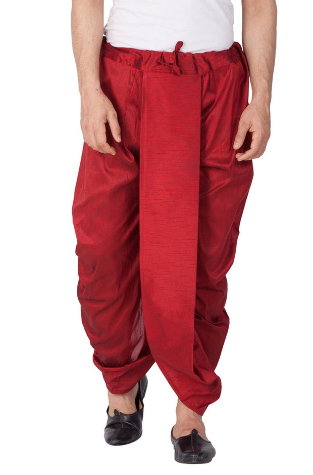 Vastramay Men's Cotton Art Silk Solid Dhoti Pant in Maroon