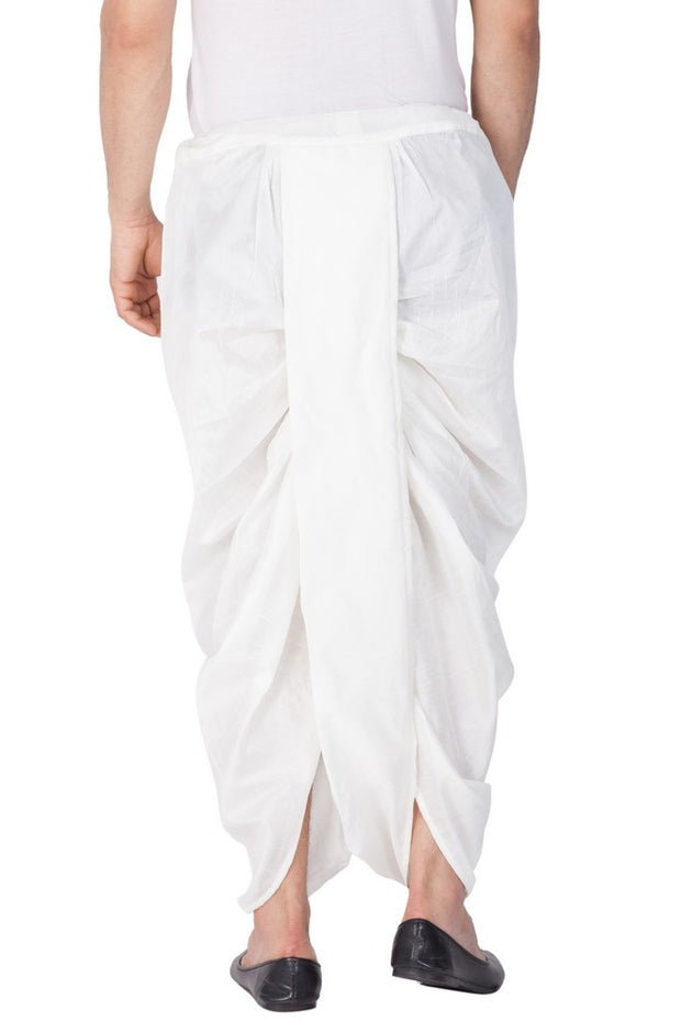 Men's Cotton Art Silk Solid Dhoti Pant in White