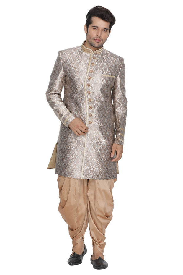Men's Cotton Art Silk Sherwani Set in Gold