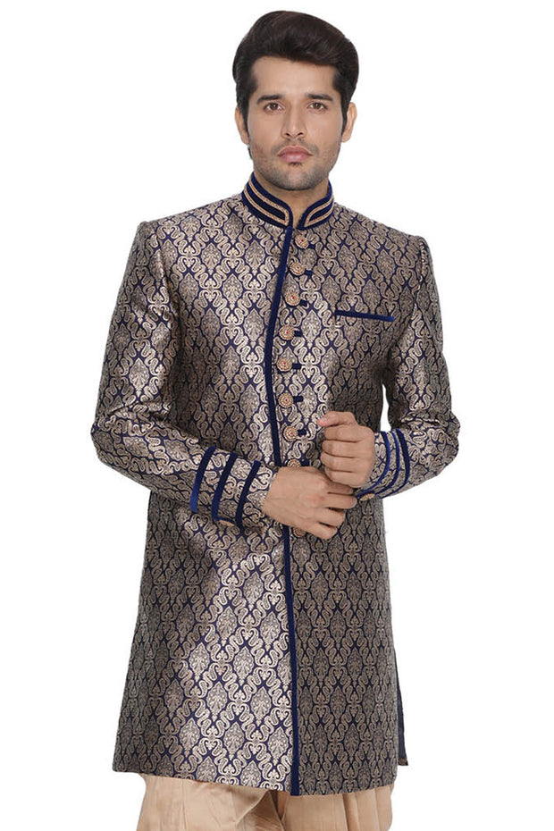 Men's Art Silk Sherwani in Dark Blue