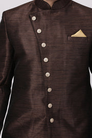 Men's Art Silk Sherwani in Brown
