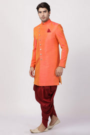 Men's Art Silk Sherwani Set in Orange