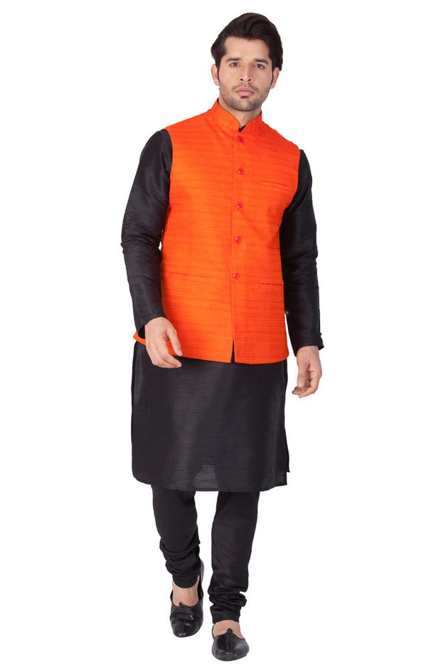 Vastramay Men's Cotton Art Silk Solid Kurta Modi Jacket and Pyjama Set in Black