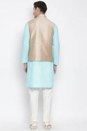 Men's Cotton Jacket Kurta Pyjama Set in Aqua
