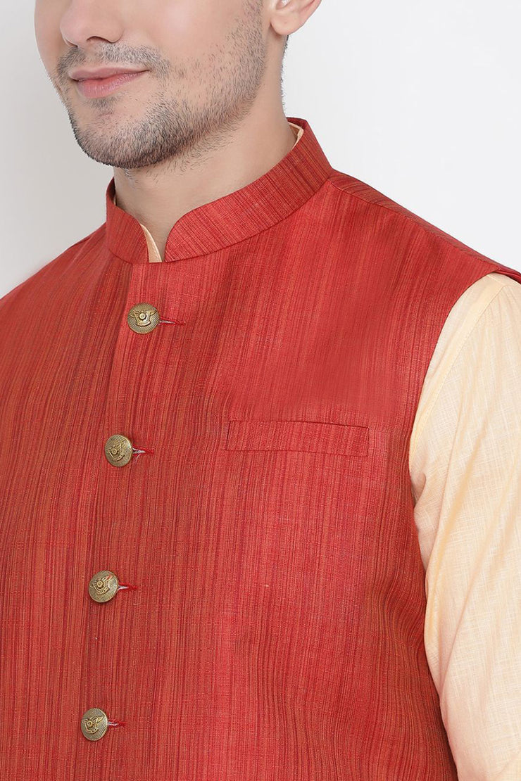 Men's Cotton Jacket Kurta Pyjama Set in Fawn