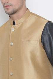Men's Cotton Silk Jacket Kurta Pyjama Set in Slate