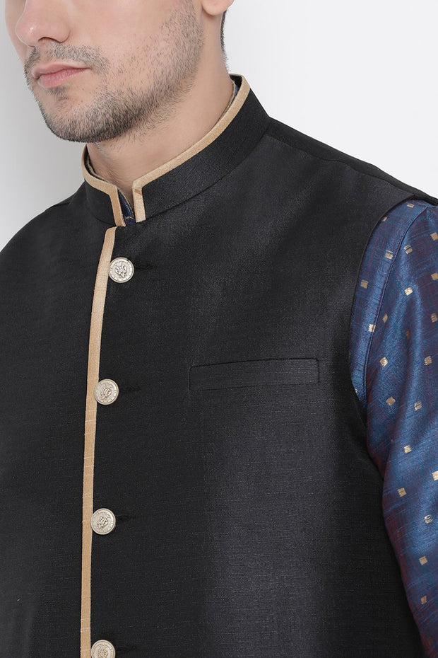 Men's Cotton Silk Jacket Kurta Pyjama Set in Royal Blue