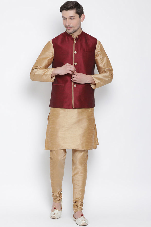 Men's Cotton Silk Jacket Kurta Pyjama Set in Rose Gold