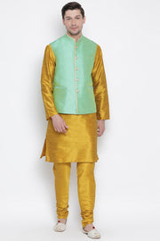 Men's Cotton Silk Jacket Kurta Pyjama Set in Mustard