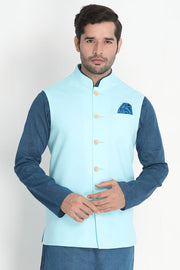 Men's Blended Cotton Ethnic Jacket in Light Blue