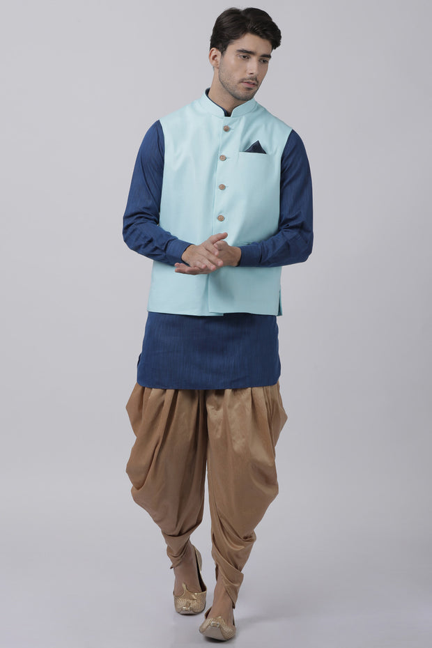 Men's Blended Cotton Kurta Set in Dark Blue
