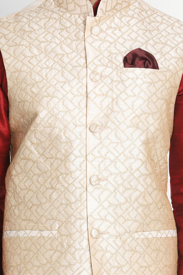 Men's Art Silk Kurta Set in Maroon