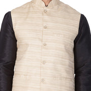 Men's Cotton Art Silk Solid Kurta Modi Jacket and Pyjama Set in Black